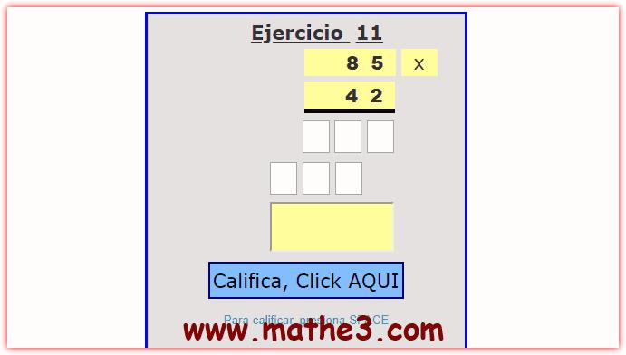 ejercicios de multiplicacion para cuarto grado primaria